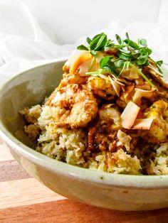 "LaraThalice: Curried Haddock & Shrimp Over Coconut Cauliflower ""Rice"""