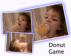 DONUT GAME: A fab game for sleepovers, and for kids parties, family events.    You need    -donuts, one per person   -string and scissors    Play    Hang each donut on a string, one per person, so they dangle at about mouth height. It's all a bit random, but you get the idea.