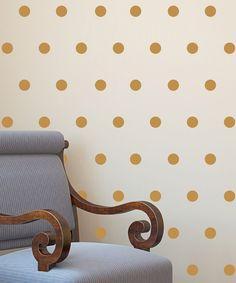 Gold Polka Dot Decal Set decor, polka dots, gold polka dot decal, dream, dot wall, wall decals, babi girl, decal set, belveder design