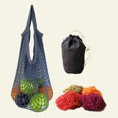 ECOBAGS® EarthTone Cotton String Bag Set with Hemp Stuff Sack  Farmers market noplasticthankyouverymuch set!! ;) $32.45