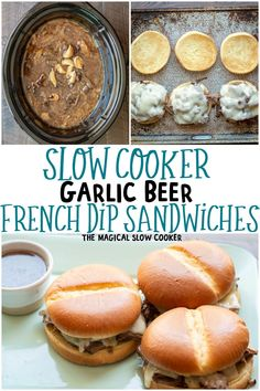 Easy Slow Cooker Garlic Beer French Dips are the best weeknight meal. The garlic and beer add so much flavor to the au jus. #crockpot #slowcooker #beef #frenchdips