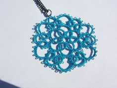 lace tatted necklace turquoise lace necklace tatted by MamaTats, $22.00