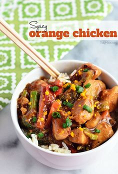 This easy Spicy Orange Chicken recipe is full of the amazing flavor you love, without restaurant-style calories! get the #recipe at TidyMom.net