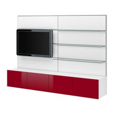 BESTÅ TV storage combination - white/high-gloss red  - IKEA $875