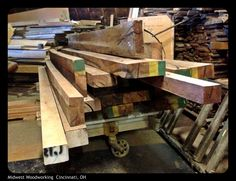 One of two carts of 8/4 and 10/4 real Brazilian Rosewood!
