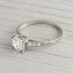 Image of 1.05 Carat Diamond Vintage Engagement Ring