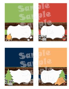 """Printable """"CAMPING FOOD TENTS"""" - Camping Themed Birthday Party Buffet Cards - Camping Food Station Cards - Camping Themed Party Decoration"""