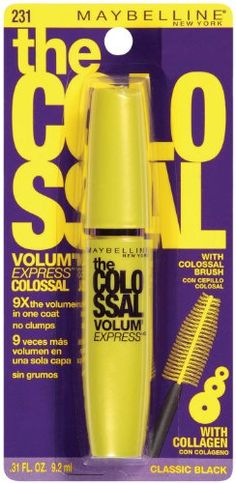 Maybelline New York The Colossal Volum' Express Washable Mascara, Classic Black 231, 0.31 Fluid Ounce - Maybelline New York The Colossal Volum' Express Washable Mascara, Classic Black 231, 0.31 Fluid Ounce  List Price: $7.77   9x the volume Megabrush + collagen formula No clumps    List Price: $7.77 Your Price: $2.50-   Creates 9x the volume, instantly. Patented megabrush collagen formula plump lashes one by one. Dramatic volume with no clumps,washable  Your Price: