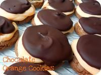 Six Sisters Chocolate Orange Cake Mix Cookies with Ganache Topping.