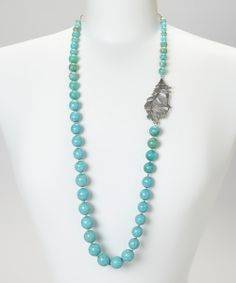Silver Leaf & Turquoise Bead Necklace