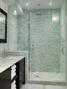 Master Bathroom   Sarah Richardson Design shower tile saltillio tile   I like the look of only using the stacked tile on the back wall, and white on the other two