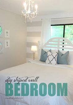 DIY Striped Wall Guest Bedroom Makeover! Tons of affordable ideas!