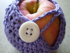 crocheted Apple Cozy:so it doesn't get bruised in your lunch bag.