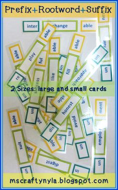 Use these Prefix, Rootword, and Suffix cards in many ways. It contains thirty sets of root words with their matching prefixes and suffixes... $