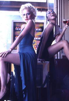 Pat Cleveland and Donna Jordan at Café Bonaparte, 1970s  Photo by Antonio Lopez