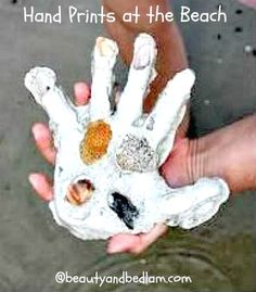 Hand prints made from plaster of paris. So cute! This easy craft will hold memories for years to come. Works perfectly any place you have sand, even the back yard.
