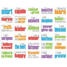 More awesomeness!! These should be recited daily by kids and teens (well, anyone really) struggling with themselves. positive quotes for school, posit affirm, classroom quotes for kids, affirm poster, daily affirmations for kids, positive affirmations for kids, kids affirmations, posters, school idea