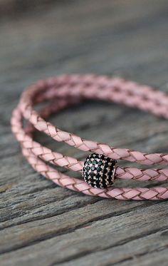 Pave Leather Wrap Bracelet / Boho Eco Friendly Pink