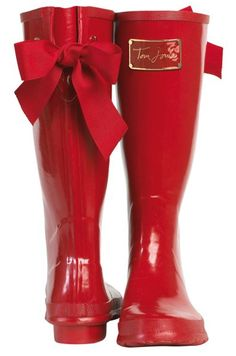 red rain boots with a bow:)