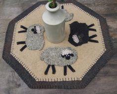 A Flock of Sheep - Wool Penny Rug Table Mat #sheep #rug #mat #rhyme #black sheep