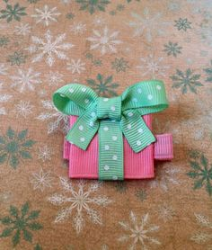 Pink and Green Christmas Present ribbon by SweetTangerineBoutiq, $4.00