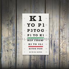 eye chart prints with a twist ... designed using knitting terms and abbreviations. An original idea by J.L. Fleckenstein author of ILiveonaFarm blog in collaboration with her son $19.00US