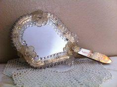 Vintage Murano Venetian Etched Hand Mirror - Shabby Chic - Italian Mirror - Wall Mirror.