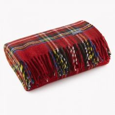 Stewart Plaid Wool Throw - Red