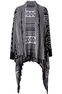 Black Long Sleeve Geometric Pattern Cardigan