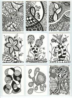 Zentangle ATCs by PRaile, via Flickr - Zentangle like - zentangle inspired - zentangle patterns - #zentangle