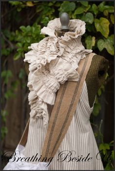 Love this scarf Ruffles Scarf Linen Roses Tattered Shabby Chic