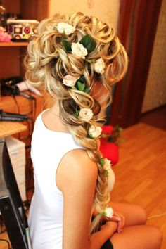 Never seen the hair sectioned before using the rollers, I'll have to try! Curly Hairstyles, Asian Updo Hairstyles, Fairy Hair, Weddings, Long Hair, Braid, Wedding Hairs, Formal Hairstyles, Flowers
