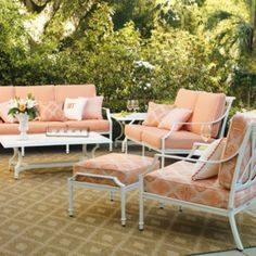The perfect garden party. That's what Grayson calls to mind. This timeless seating collection is elegant without being fussy, with a high lattice back and airy design that are achieved in solid cast aluminum. | Frontgate: Live Beautifully Outdoors