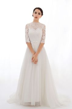 Lace wedding dress, bridal dress with Chantilly lace sleeves