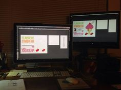 Once again I am so glad to have a dual monitor setup in my office. My main monitor is my large Apple display and my 2nd is a large flat screen Viewsonic I picked up for $40 at Goodwill. In reviewing tomorrow's Illustrator lesson, I have the finished version of the file on the right as I work on my edit on the main monitor.   Having 2 monitors has been a regular part of my work now for several years and when I have to use only 1 monitor (while teaching), it always seems so limited!