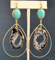Geode Earrings  Large Turquoise Earrings  Geode by MamacitaStudios, $65.00
