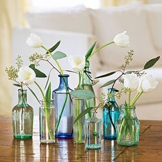 colored bottles, single flower, so simple