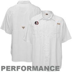 Columbia Florida State Seminoles (FSU) White Tamiami Button-Up Performance Fishing Shirt