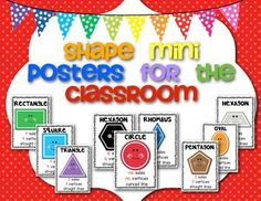 FREEBIE! Shape {mini} Posters for the Classroom! Set of 9.