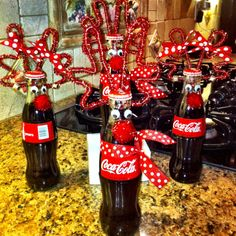 holiday, coca cola, bottl reindeer, bottles, neighbor gifts, coke bottl, gift idea, christmas gifts, christmas drinks