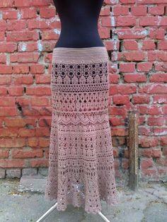 Мадам - бежевый,орнамент,юбка вязаная,юбка длинная,юбка летняя,юбка вязаная крючком