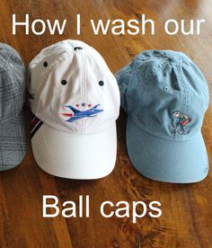 Wash your ball caps. Easy and works great!
