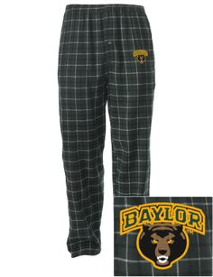 Warm and cozy! // #Baylor University Embroidered Men's Flannel Pajama Pant