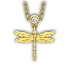 Theo Fennell Yellow Gold, Diamond Dragonfly Necklace, £1100 #necklaces #dragonfly #jewellery