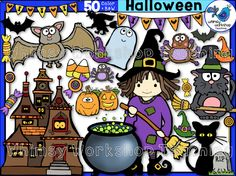 This set compliments the Halloween Kids Clip Art set with everything you need to celebrate Halloween! The set includes everything shown on the cover, as well as all the black and white versions (50 images total)! $ Whimsy Workshop Teaching