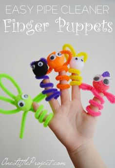 Pipe Cleaner Finger Puppets.  These are super easy to put together and make such a fun weekend craft for the kids! pipe cleaners crafts, pipe cleaner finger puppets, puppets for kids to make, easy pipe cleaner crafts, crafts for the kids, weekend craft, finger puppets pipe cleaners, easy crafts for kids to make, pipe cleaner crafts for kids