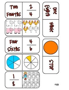 Here's a set of fraction dominoes that includes images showing both part of a whole and part of a set models, as well as fractions written in numbers and words.
