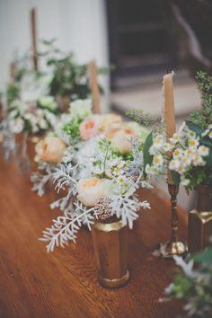 gold vases + candlesticks, photo by Evynn LeValley http://ruffledblog.com/anderson-canyon-wedding #weddingideas #golddecor #weddingideas