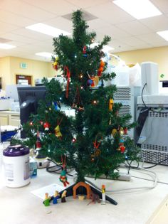 Christmas tree in CTRC lab at CCTSI in the Leprino Building #CUHSLibrary