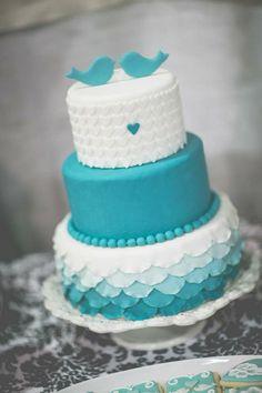 Chic wedding cake. Teal and heart wedding cake. Teal bird wedding cake.